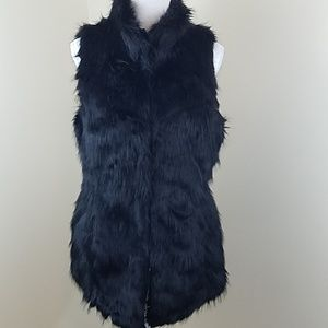 White House Black Market Med Black Faux Fur Vest